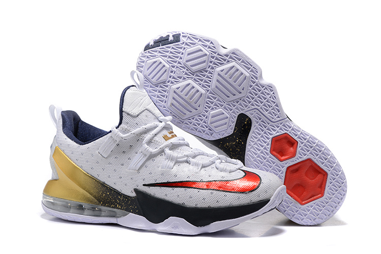 2016 Nike LeBron 13 Low USA Olympic White University Red-Obsidian-Metallic Gold