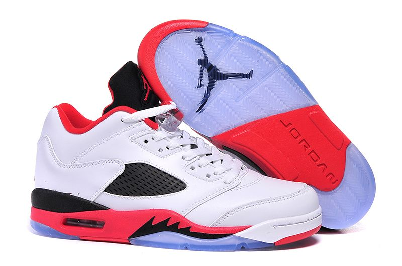 2017 Air Jordan 5 Low Fire Red White Fire Red-Black