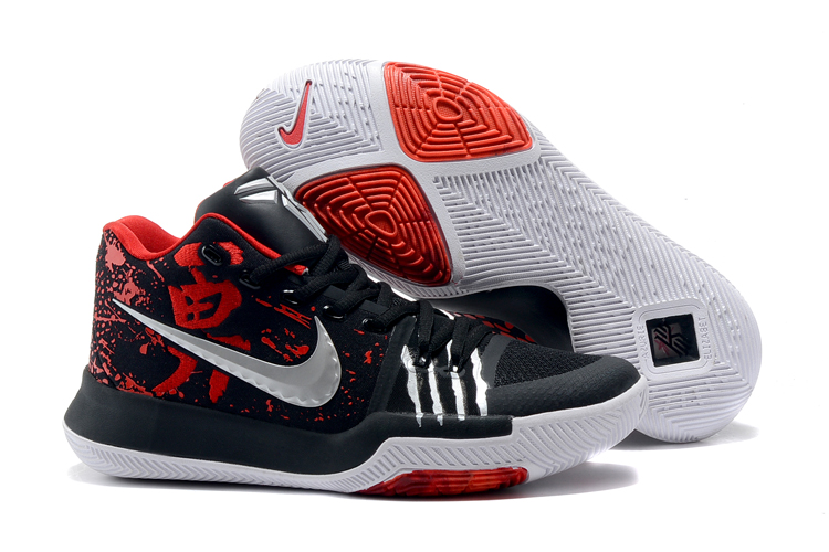 2017 Cheap Kyrie 3 Bruce Lee Black Red-Metallic Silver For Sale