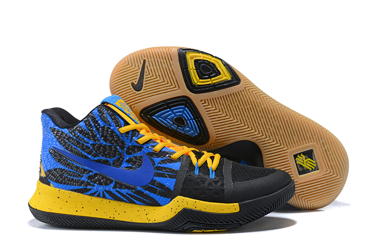 2017 Cheap Kyrie 3 What The University Gold Blue Glow-Black For Sale
