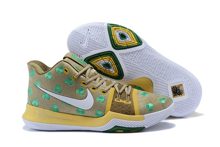 2017 Cheap Nike Kyrie 3 Luck Celtics PE Gold Green For Sale