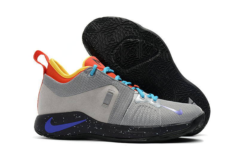 d924b75b95d 2018 Cheap Nike PG 2 Paul George Grey Black Blue Orange Yellow ...