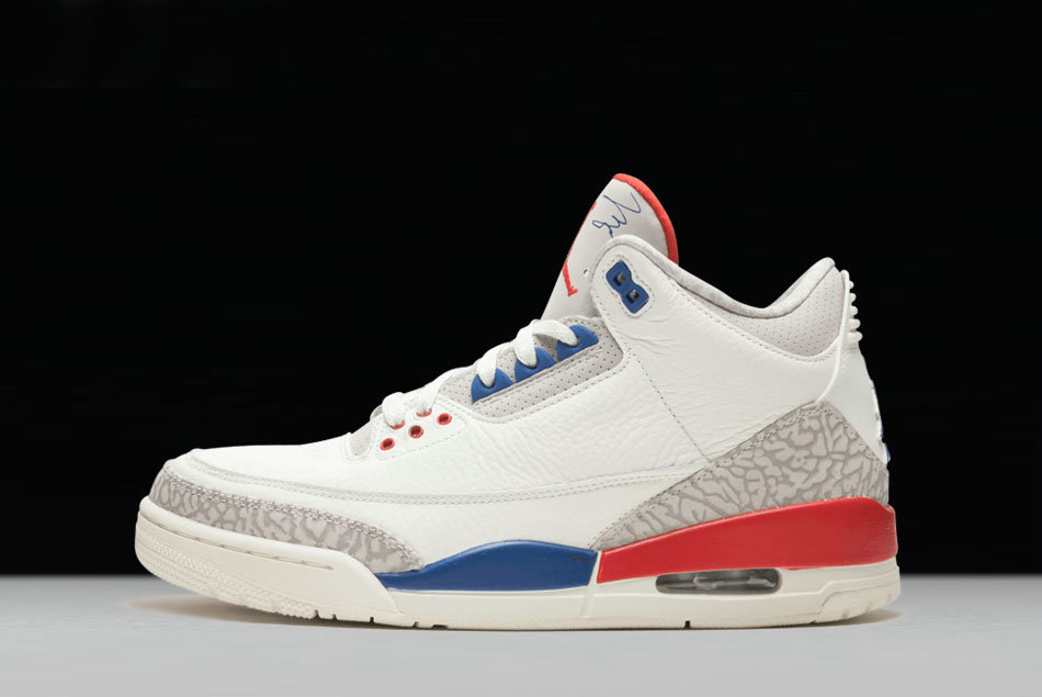 2dfddaf80326 Cheap 2018 New Air Jordan 3 International Flight Sail Sport Royal-Light  Bone-Fire