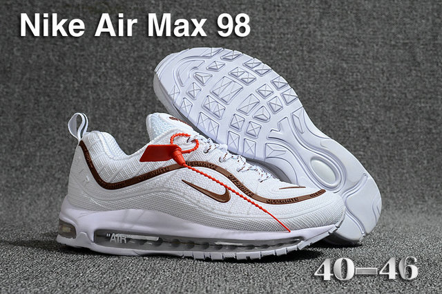 buy online 06e1b 10de8 2018 Nike Air Max 98 QS White Brown Cheap Sale - Cheap Nike ...