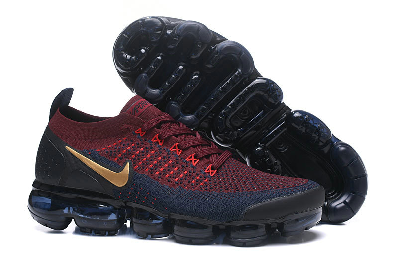 b7c2e8d4f8621 2018 Nike Air VaporMax Flyknit 2.0 Burgundy Gold Black Blue Cheap Sale