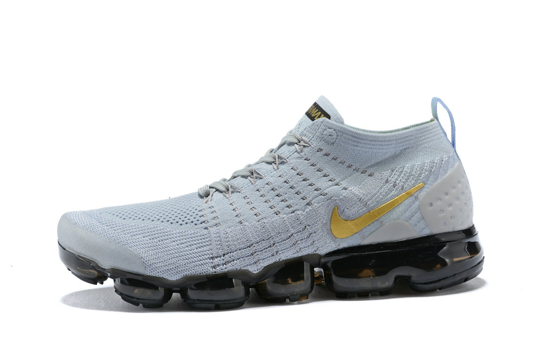 d085df866d622 2018 Nike Air VaporMax flyknit 2.0 SneakerBoots Gold Grey Black Cheap Sale