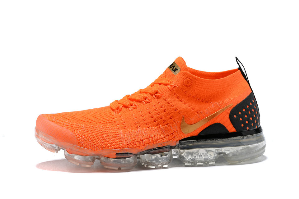 best sneakers 44c8a 7f9a9 2018 Nike Air VaporMax flyknit 2.0 SneakerBoots Orange Gold Black Cheap Sale