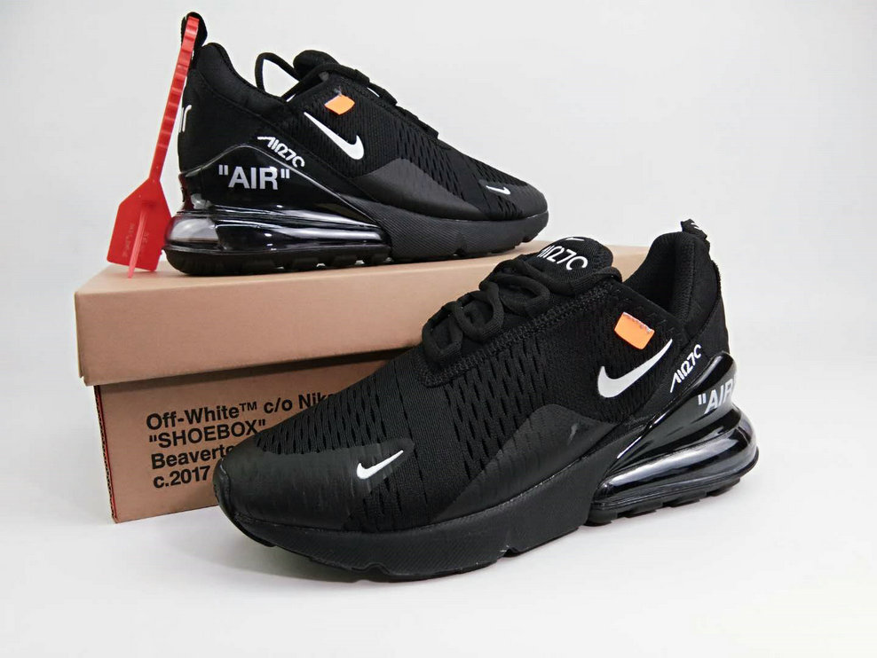 newest collection b59cf bf381 2018 Womens 2018 Nike Air Max 270 Triple Black OFF-WHITE Cheap Sale ...