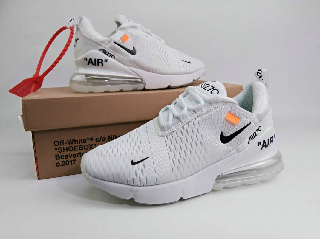 bef295d86902a2 2018 Womens Nike The 10 OFF-WHITE Air Max 270 Triple White Cheap Sale