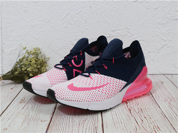 2018 Cheapest Sale Nike Air Maxs 270 Flyknit Mens Pink White Navy Blue