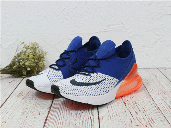 2018 Cheapest Sale Nike Air Maxs 270 Flyknit Mens White Orange Navy Blue
