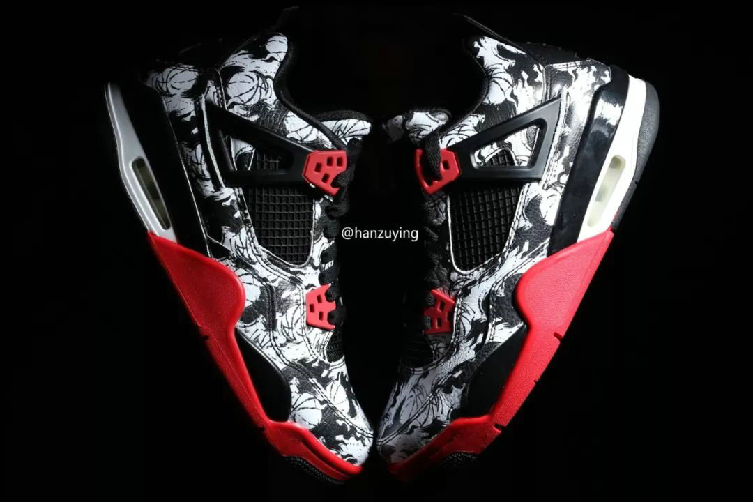 sale retailer 329ec 6f34e 2019 Cheap Nike Air Jordan 4 Tattoo Black Fire Red-Black-White BQ0897-
