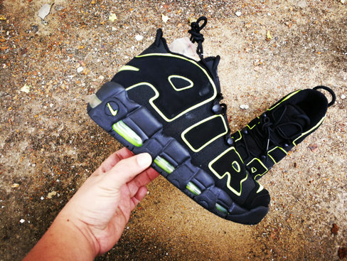2019 Where To Buy Cheap Nike Air More Uptempo Fluorescent Green Navy Blue