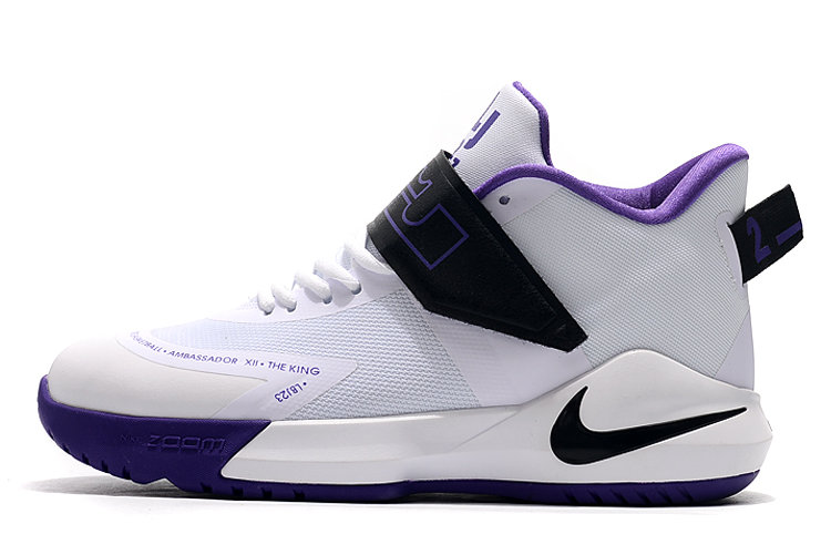 Where To Buy 2020 Nike LeBron Ambassador 12 White Black-Purple For Sale