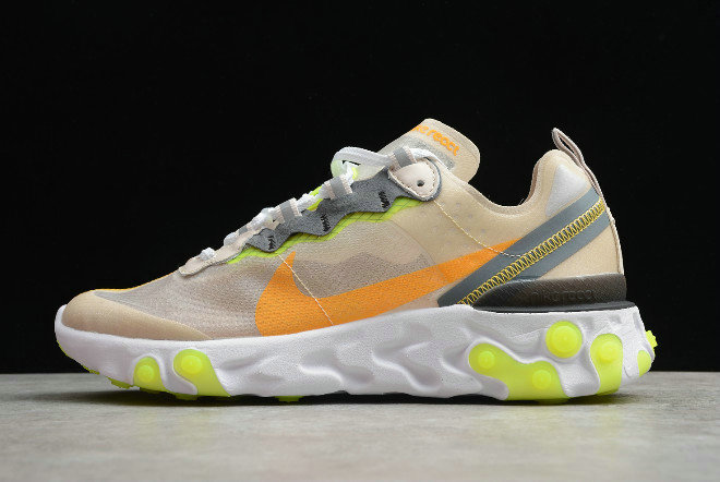 Where To Buy 2020 Nike React Element 87 Light Orewood Brown Volt Glow-Cool Grey-Laser Orange AQ1090-101
