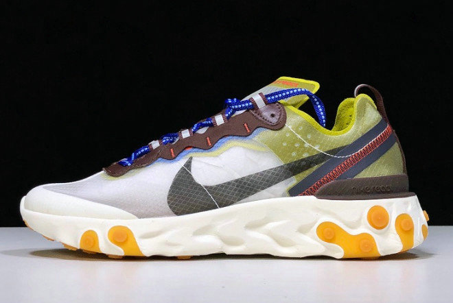 Where To Buy 2020 Nike React Element 87 Moss Moss Black-El Dorado-Deep Royal Blue AQ1090-300