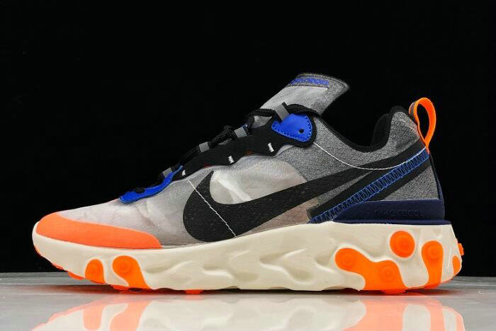 Where To Buy 2020 Nike React Element 87 Wolf Grey Thunder Blue-Total Orange-Black AQ1090-004