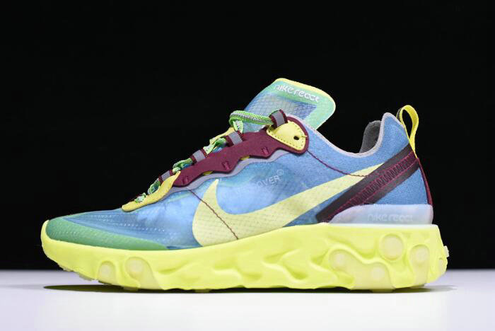 Where To Buy 2020 Undercover x Nike React Element 87 Blue Volt Lakeside Electric Yellow BQ2718-400