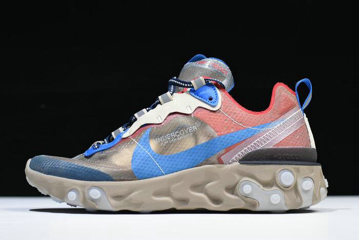 Where To Buy 2020 Undercover x Nike React Element 87 Light Beige Chalk Signal Blue BQ2718-200