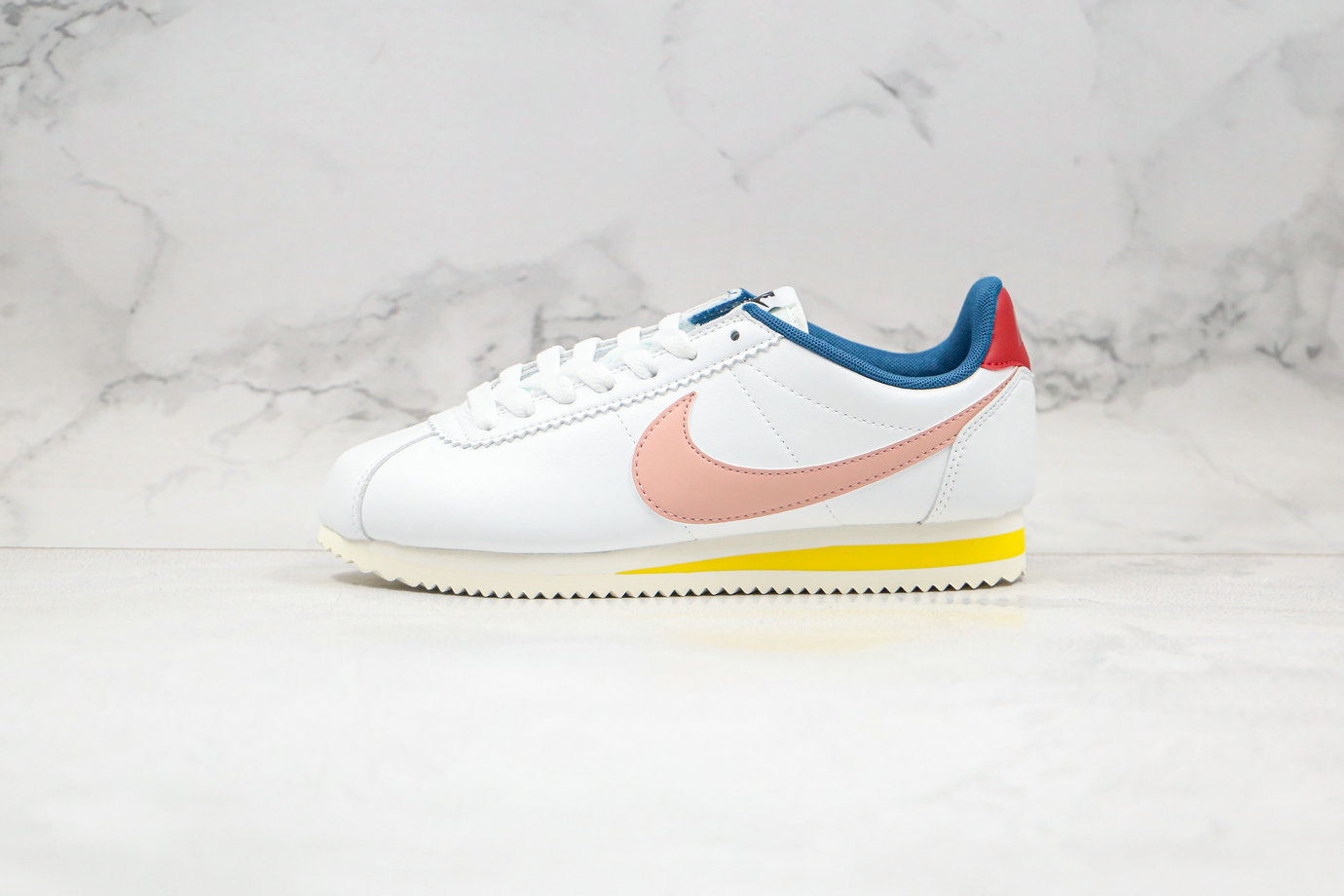 2020 Womens Cheapest Nike Classic Cortez Leather Summit White Coral Stardust 807471-114