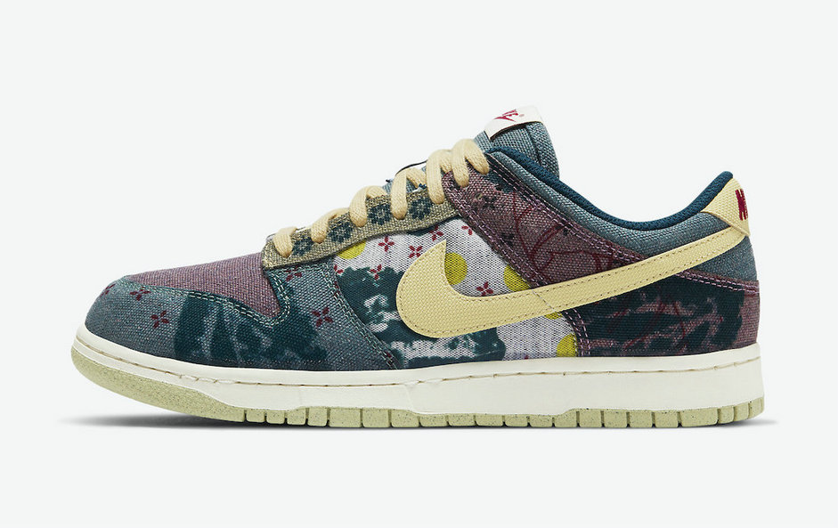 2021 Cheap Nike Dunk Low Community Garden Multi-Color Midnight Turquoise-Cardinal Red-Lemon Wash CZ9747-900
