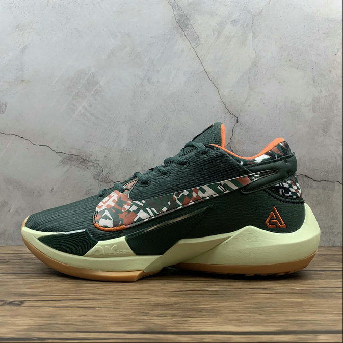 2021 Cheap Nike Zoom Freak 2 Army Green Orange Yellow Vert Jaune CK5424-301