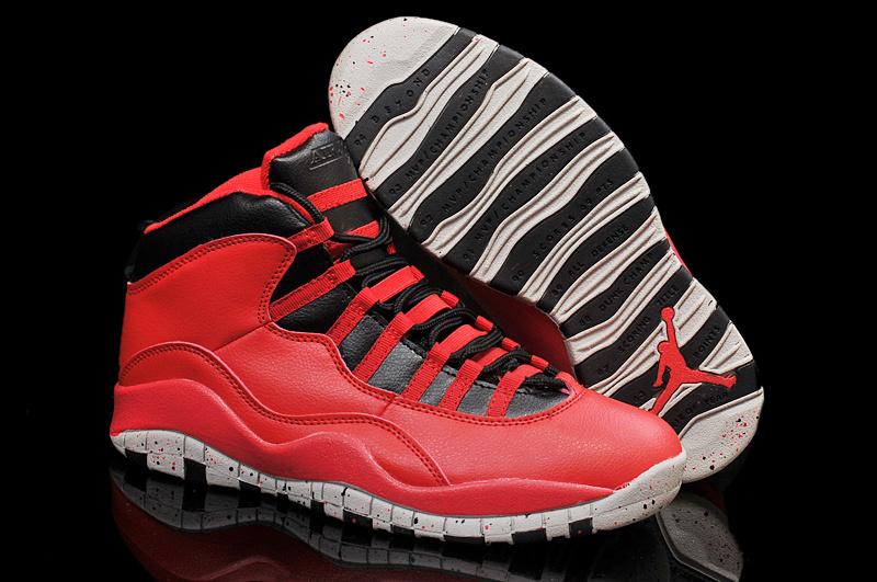 Air Jordans 10 Gym Red Gym Red Black-Wolf Grey Shoes For Sale