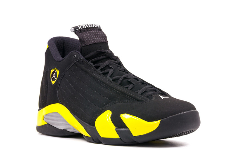 brand new 80d38 35b48 Air Jordans 14 Retro Thunder Black Vibrant Yellow-White For Sale