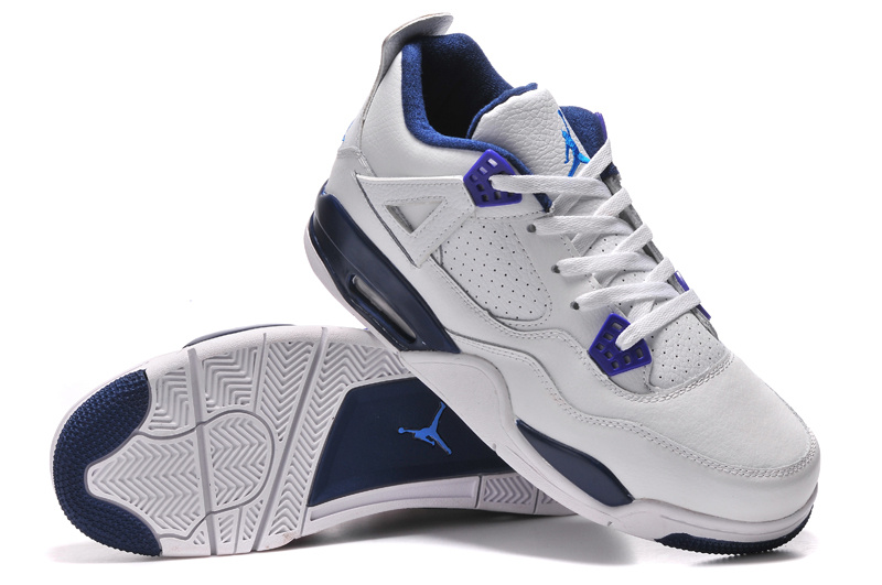 Air Jordans 4 Retro Columbia White Columbia Blue-Midnight Navy For Sale