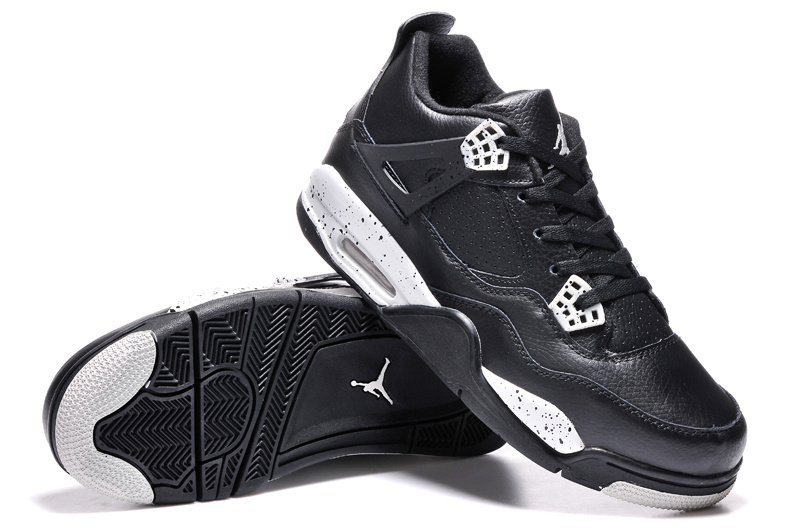 Air Jordans 4 Retro Oreo Black Leather White Speckle For Sale