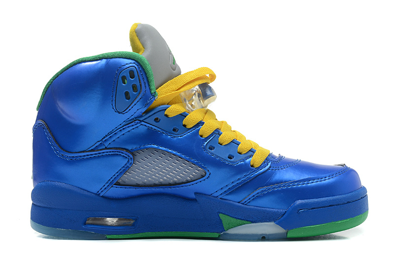 Air Jordans 5 Retro Easter Metallic Blue-Yellow Pine Green For Sale