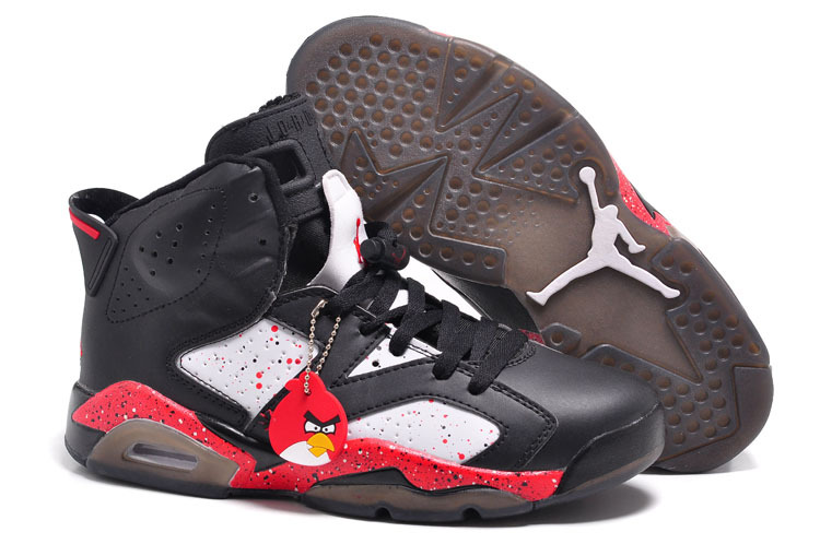 Air Jordans 6 Retro Custom Angry Birds Black-White Red Specked For Sale Online