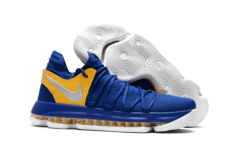 Cheap Nike KD 10 Golden State Warriors Blue Yellow-White For Sale