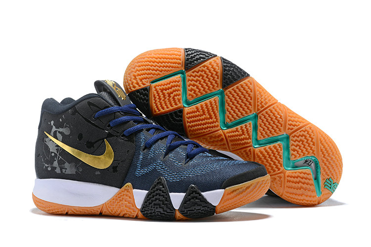 cdd80629b91b Cheap Nike Kyrie 4 Irving Basketball Shoes Gold Black Navy Blue White.  Loading zoom