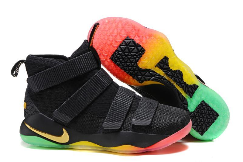 f9b125f3b91f Cheap Nike LeBron Soldier 11 Black Gold Rainbow Basketball Shoes For Sale