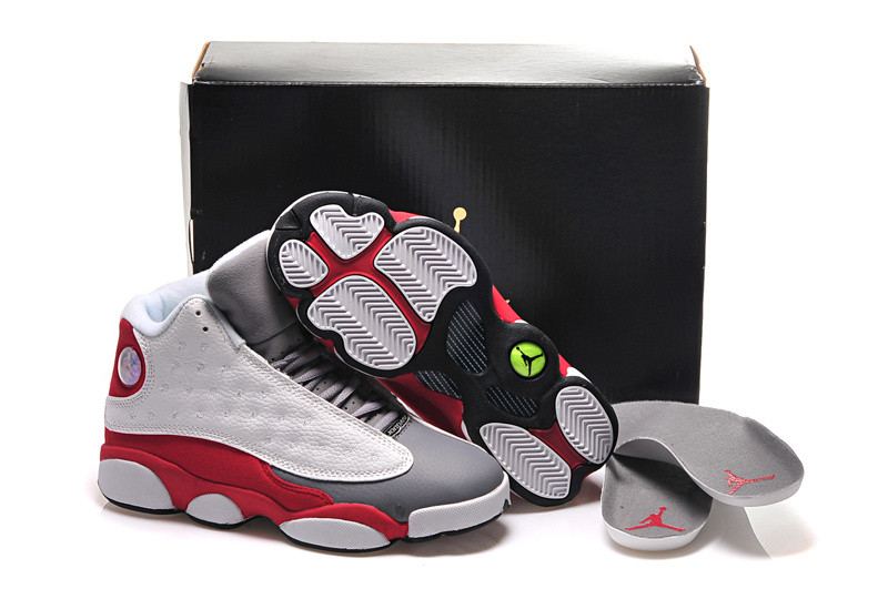cbc5af3c067e Girls Air Jordan 13 Retro Cement Grey White Black-True Red-Cement Grey For