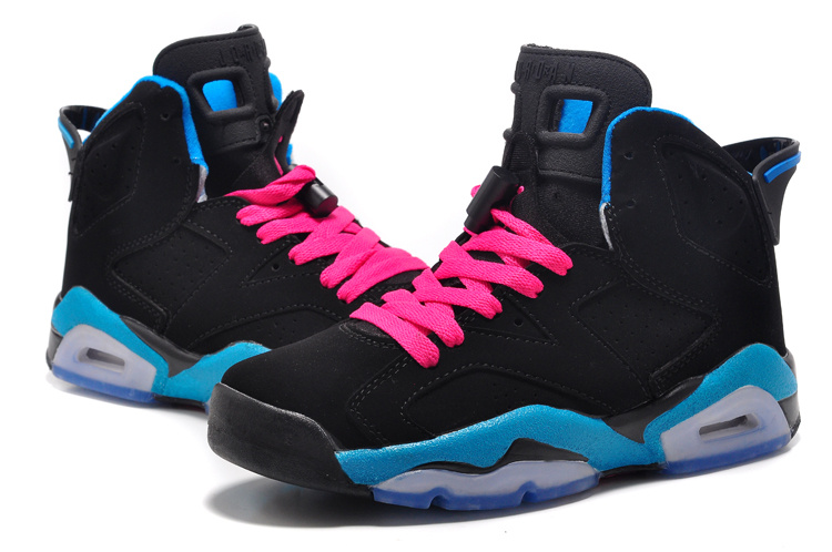 Girls Air Jordan 6 Retro South Beach Black Dynamic Blue