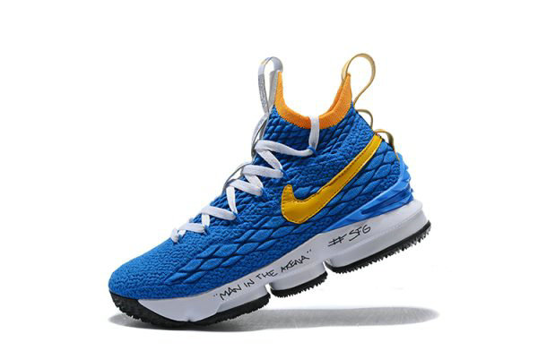 444642903c9 Cheap Mens Nike LeBron 15 Waffle Trainer Blue Yellow Basketball Shoes