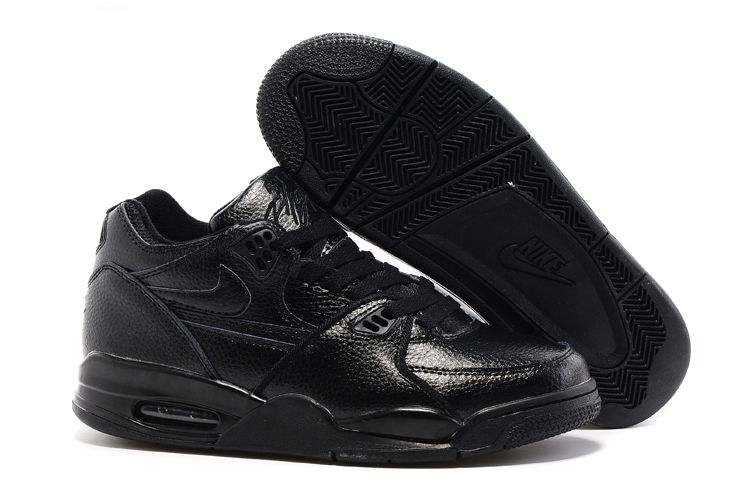 Nike Air Flight 89 All Black Leather Basketball Shoes For Sale