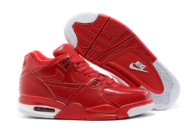 Nike Air Flight 89 Red Leather Basketball Shoes For Sale