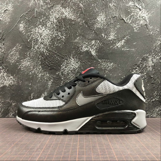 plutôt sympa 432c7 14ab8 Nike Air Max 90 Essential 537384-065 Black Grey Red Noir ...