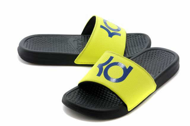 Nike KD Black Yellow Blue Slippers For Sale