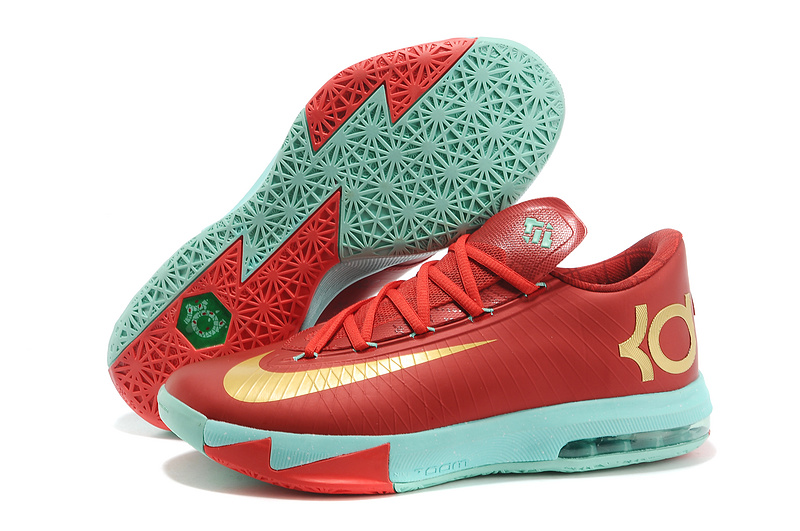 a4fe26e07606 Nike Kevin Durant KD 6 VI Christmas Light Crimson Metallic Gold-Green Glow  For Sale