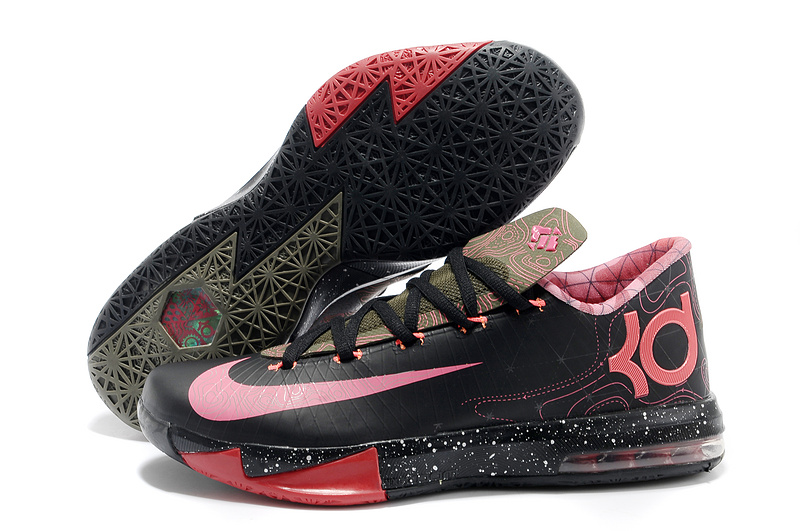 f13532ac69e1 Nike Kevin Durant KD 6 VI Meteorology Black Atomic Red-Medium Olive-Noble  Red