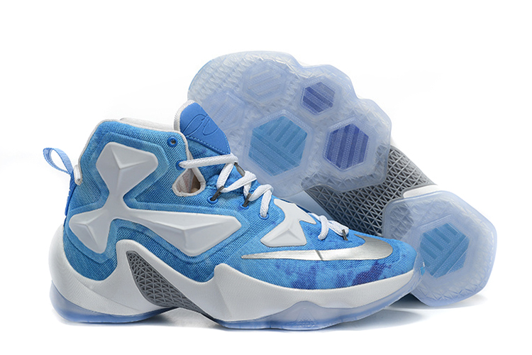 Nike LeBron 13 Lake Erie White Blue Silver Basketball Shoes