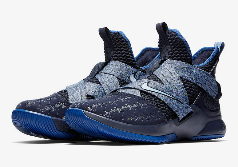Cheap Nike LeBron Soldier 12 AO2609-401 Blackened Blue Gym Blue
