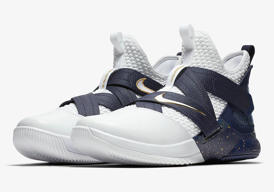 Cheap Nike LeBron Soldier 12 AO4054-100 25 Straight White Midnight Navy-Mineral Yellow