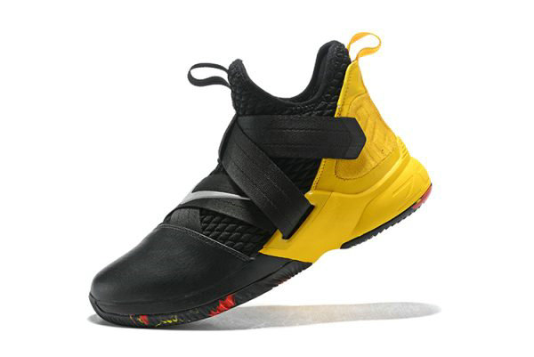 Cheap Nike LeBron Soldier 12 Black Yellow Mens Basketball Shoes