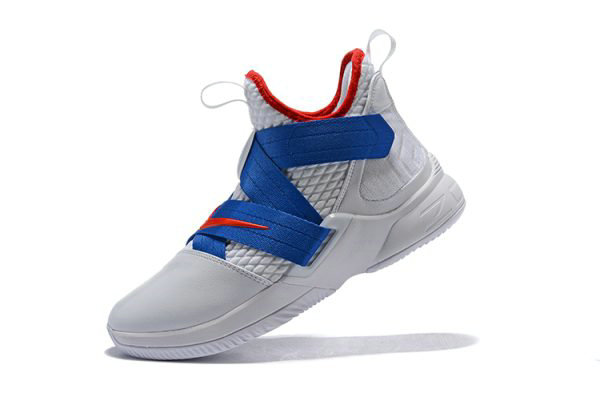 Cheap Nike LeBron Soldier 12 White Blue-Red Mens Basketball Shoes