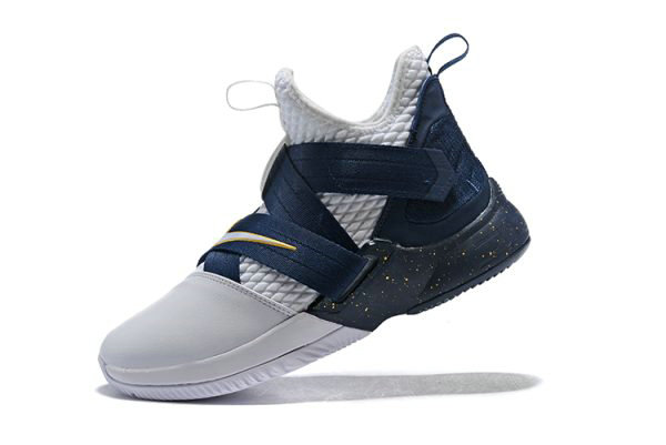Cheap Nike LeBron Soldier 12 XII SFG White Midnight Navy-Mineral Yellow Basketball Shoes